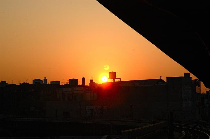 solnedgång, Brooklyn, new york, vattentorn, skymning, stadsbild, arkitektur