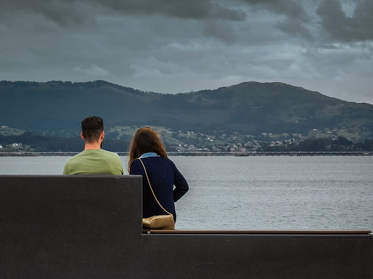 clouds, mountain, confidences, sunset, sea, sitting, to watch