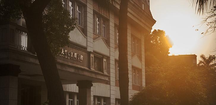at dusk, sunset, building, campus