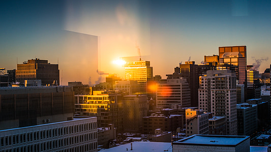 city, buildings, cityscape, urban, montreal, reflection, light