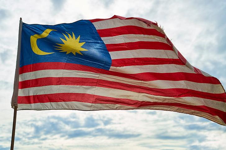 флаг, Малайзия, дом, независимость, Голубой, красный, Полосатый