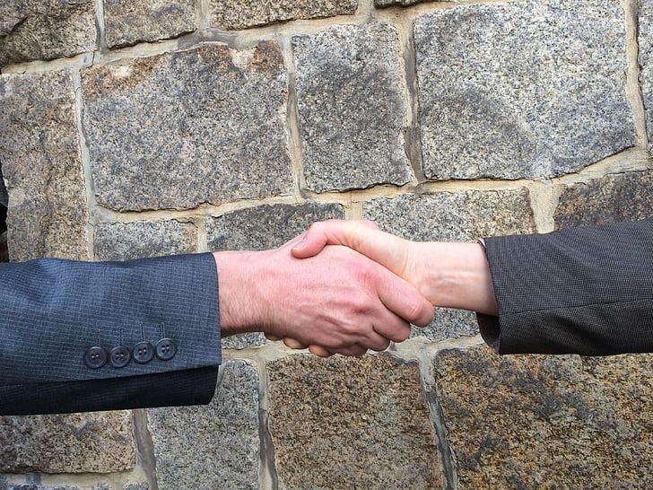 poignée de main, mains, poignée de main, négociation, Bienvenue, coopération, entreprise