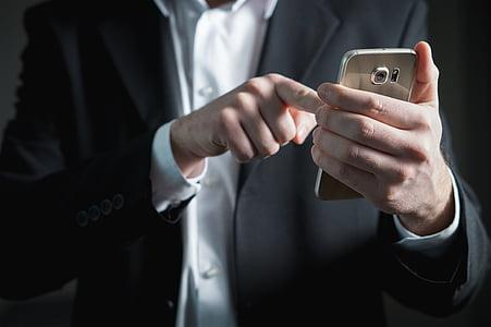 палець, смартфон, екран, пресування, бізнесмен, телефон, мобільний телефон