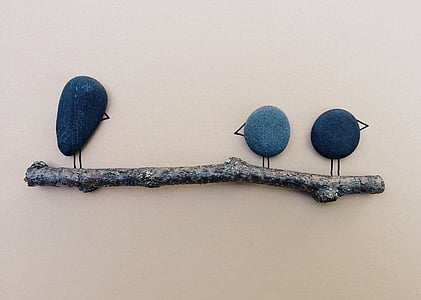 birds, branch, rock, art