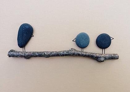 burung, cabang, batu, seni