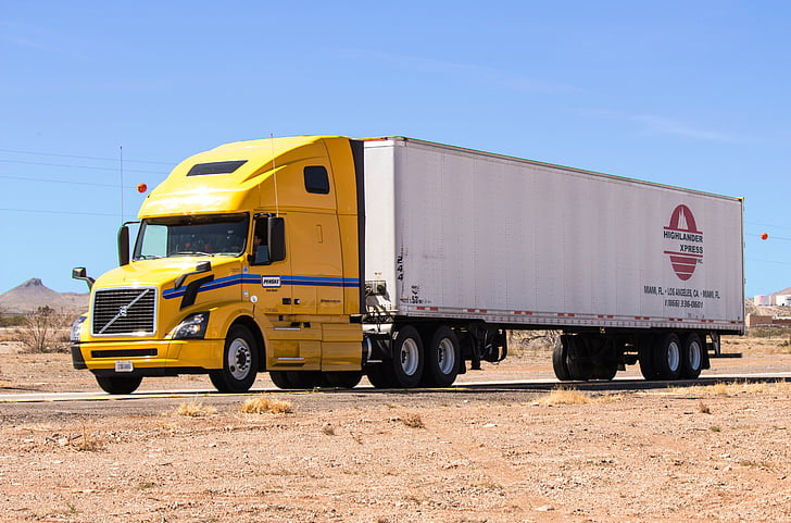 truck, semi truck, desert, new mexico, weigh station, transportation, shipping