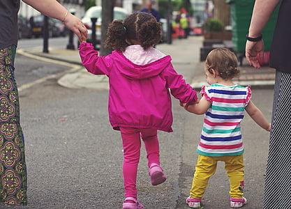 children, kids, babies, walking, street, together, hands