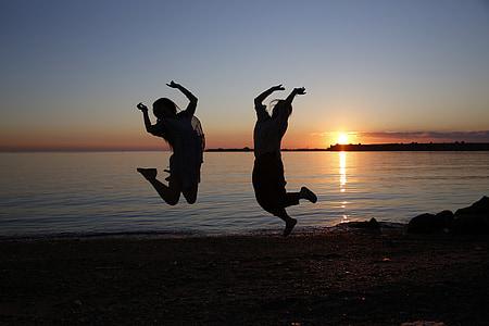 youth, silhouette, portrait, graduation, beach, sunset, sea
