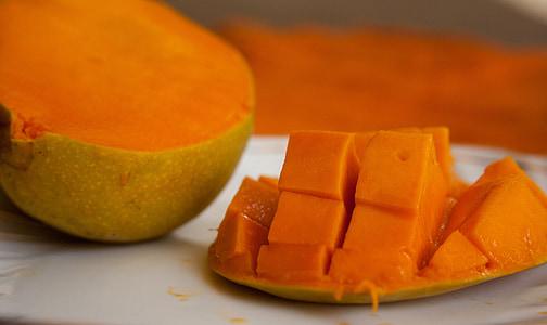 μάνγκο, φρούτα, κομμένο σε φέτες, εξωτικά, πορτοκαλί, ώριμα, τροφίμων