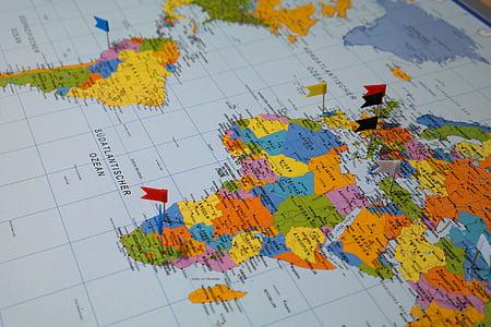 Destinacions, mapa, mapa del món, país, viatges, banderes, banderes
