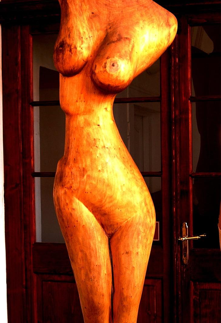 ženska, trup, Kip, lesa