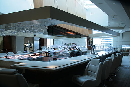 酒吧, 餐厅, 打开, 眼镜, 饮料, 餐厅, 表设置
