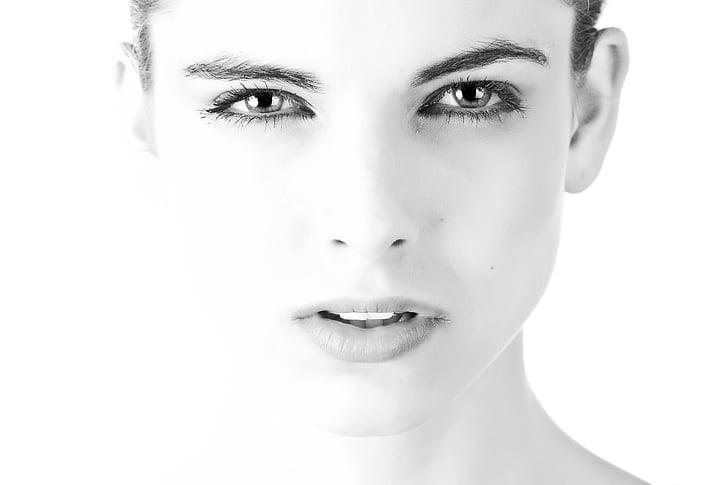 čierno-biele, detail, oči, tvár, výraz tváre, samica, dievča