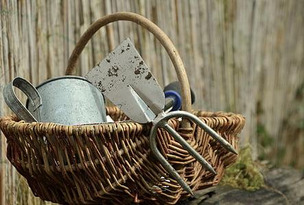 Aed, aiandus, kõblas, aiatööriistad, külvata, taim, Natüürmort