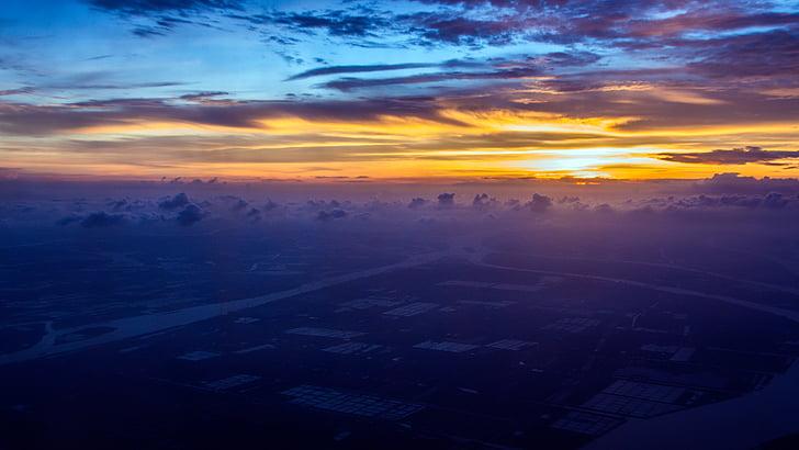 stratosfären, solnedgång, molnen, antenn, skymning, stadsbild, naturen