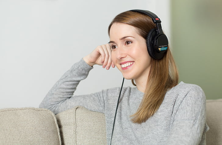 nainen, Tyttö, kuulokkeet, Musiikki, Kuuntele, rentouttaa, muotokuva