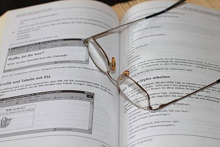 llibre, ulleres, llegir, aprendre