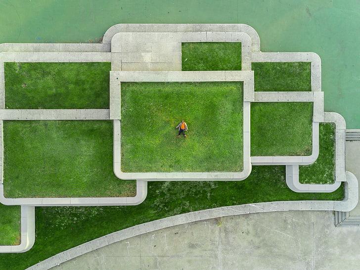 verd, herba, camp, arquitectura, persones, sol, aèria