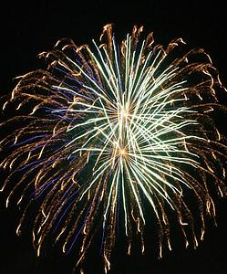 tűzijáték, felrobban, éjszaka, ünnepe, robbanás, világos, fények