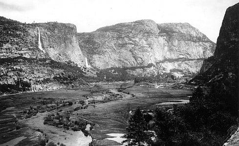 hetch hetchy valley, 1900, tuolumne river, mountain, valley, forest, cliff