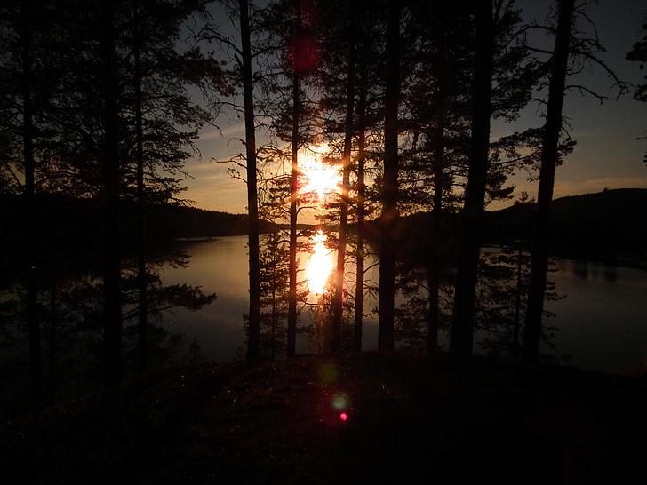 여름, 호수, 물, 로맨스, 일몰, abendstimmung, 목가적인