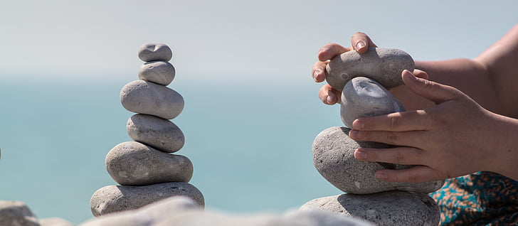 meditation, stone towers, stone tower, balance, tower, relaxation, stability
