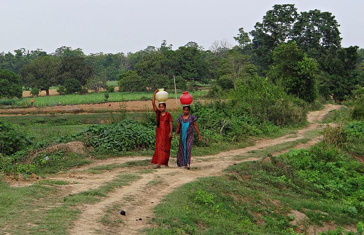 femmes, village, chercher de l'eau, pot, mains-, Balance, Karnataka