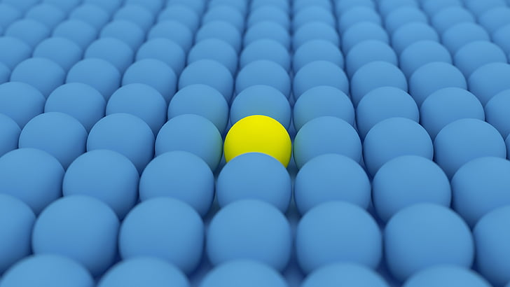 ball, yellow ball, blue ball, blue, yellow, focus, 3d