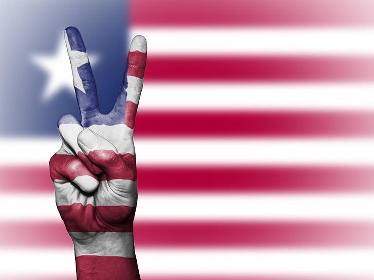 Libèria, Pau, mà, nació, fons, Banner, colors