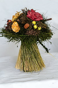 bouquet, dried flowers, roses, dried, schnittblume, red, yellow