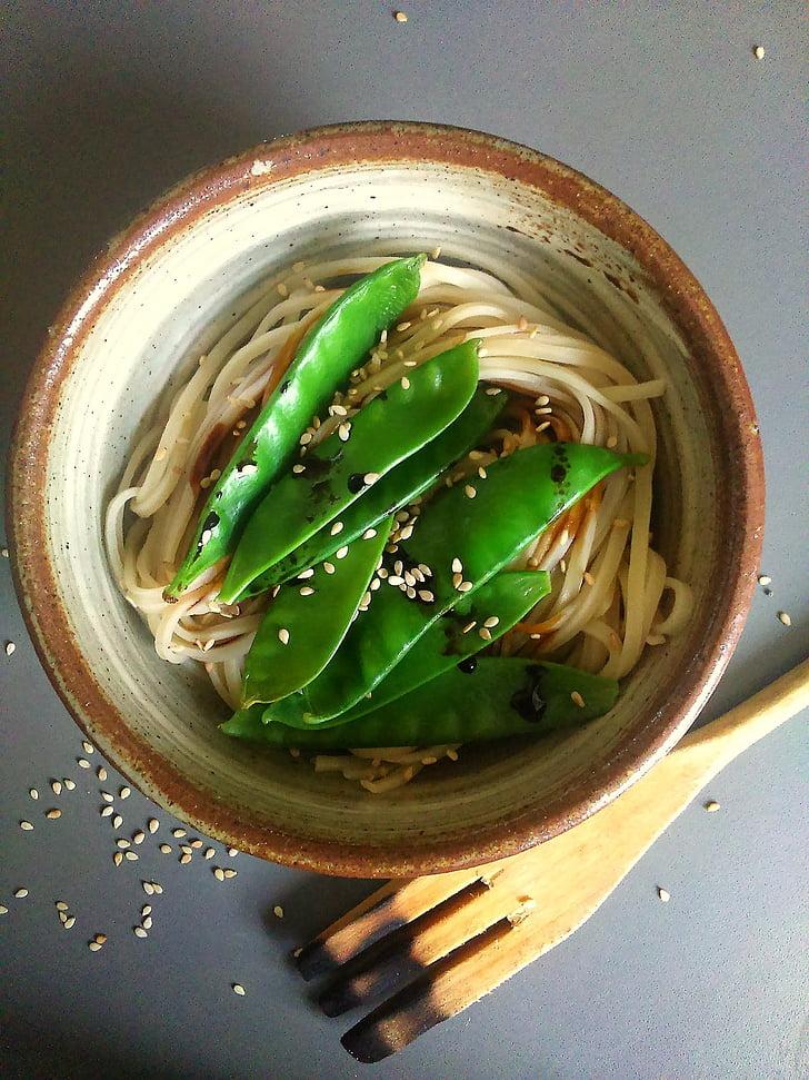 grah, rezanci, hrana, veganski, ručak, Azijski, zdjela