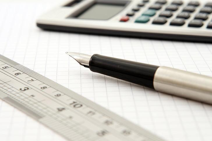 calculator, close-up, fountain pen, paper, pen, ruler, business