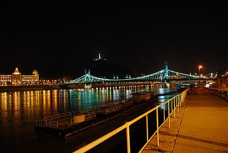 budapest, at night, bridge, night, river, bridge - Man Made Structure, architecture