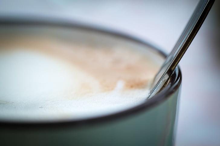 colher, Copa, café, xícara de café, espuma, café, capuccino