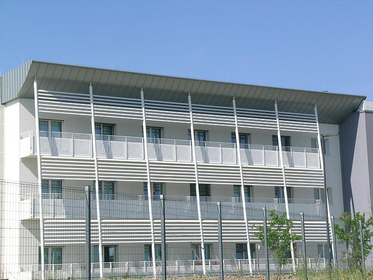 ziekenhuis, balkons, pijlers, gebouw, gevel, Windows, het platform