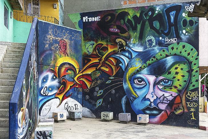 Priorità bassa, Graffiti, grunge, arte di strada, parete dei graffiti, arte dei graffiti, artistico