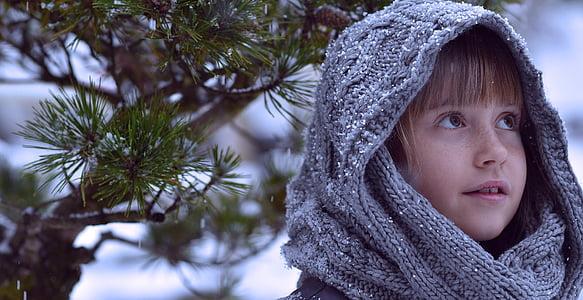 child, girl, winter, snow, face, fairy tales, movie scene