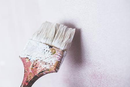 油漆, 笔刷, 白色, 艺术, 画笔, 白墙, 工作工具