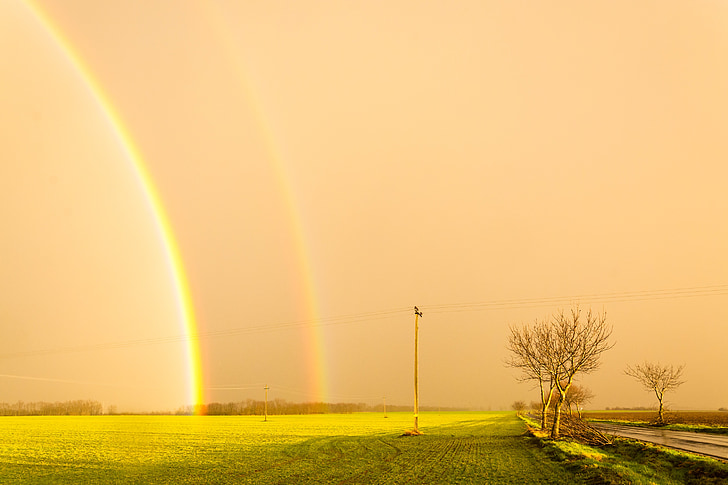 καταιγίδα, ουράνιο τόξο, ηλιοφάνεια, Κίτρινο, Λιβάδι, ηλιοβασίλεμα, φύση