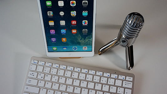 microphone, keyboard, tablet, podcast, condenser microphone, home office