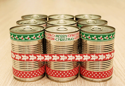 bank, canned, gift, christmas, new year's eve, congratulation, postcard