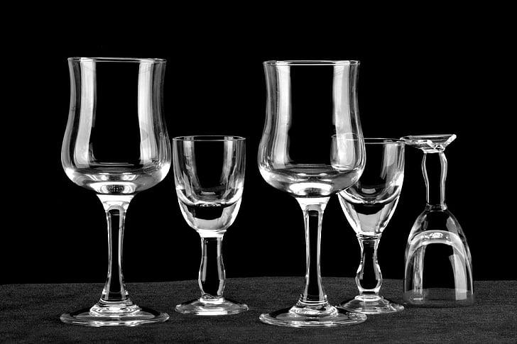 vidre, fons negre, ratlles blanques, calze, Copa de vi negre, Wineglass, got d'aigua