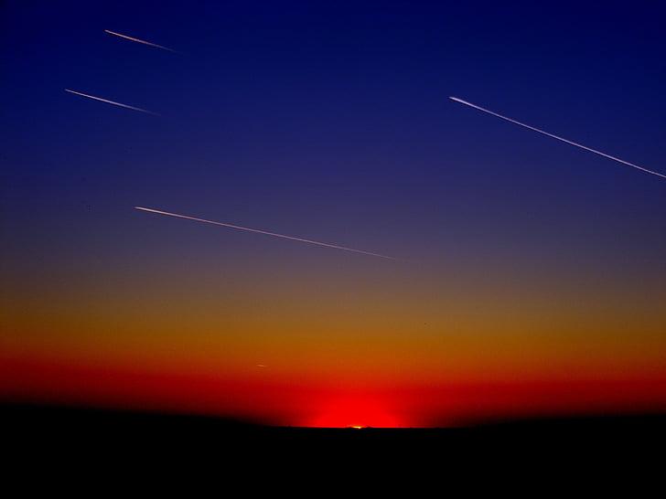 llum pista, meteorits, natura, estels fugaços, cel, posta de sol, capvespre