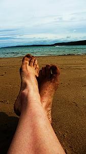 relaxar-se, platja, peus, sorra, Mar, riba, persones