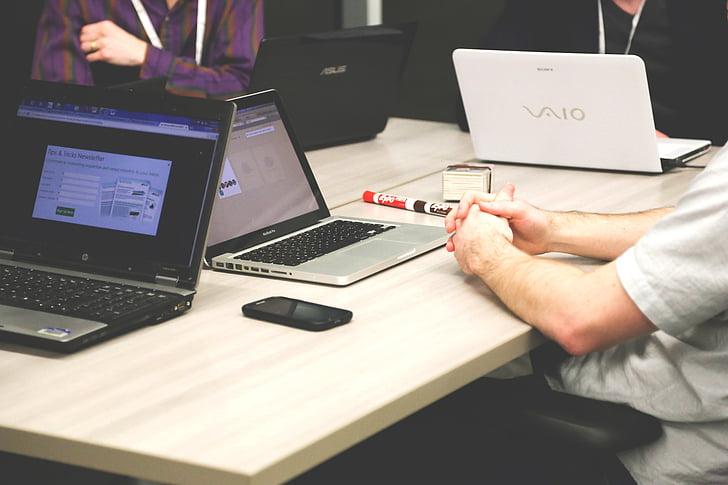 home, assegut, taula, MacBook, Pro de, negoci, equip