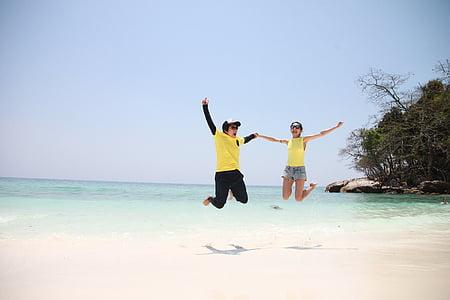 Bãi biển, bờ biển, Cặp vợ chồng, Thiên nhiên, Đại dương, hoạt động ngoài trời, mọi người