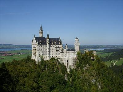 Neuschwanstein kastély, tündér vár, Castle, Marie-híd, Lajos király a második, Füssen, Németország