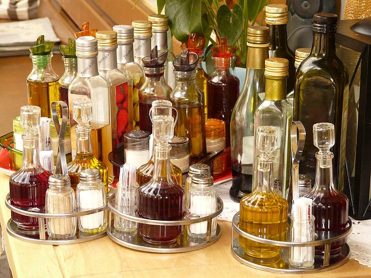 zout, peper, azijn, olie, zout shaker, fles, flessen