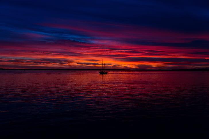 vaixell, horitzó, marí, posta de sol, l'aigua
