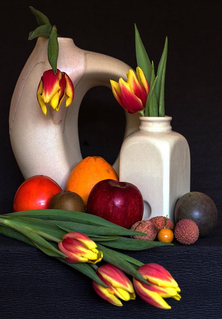 bodegons, fruites, tulipes, fruites tropicals, fruita